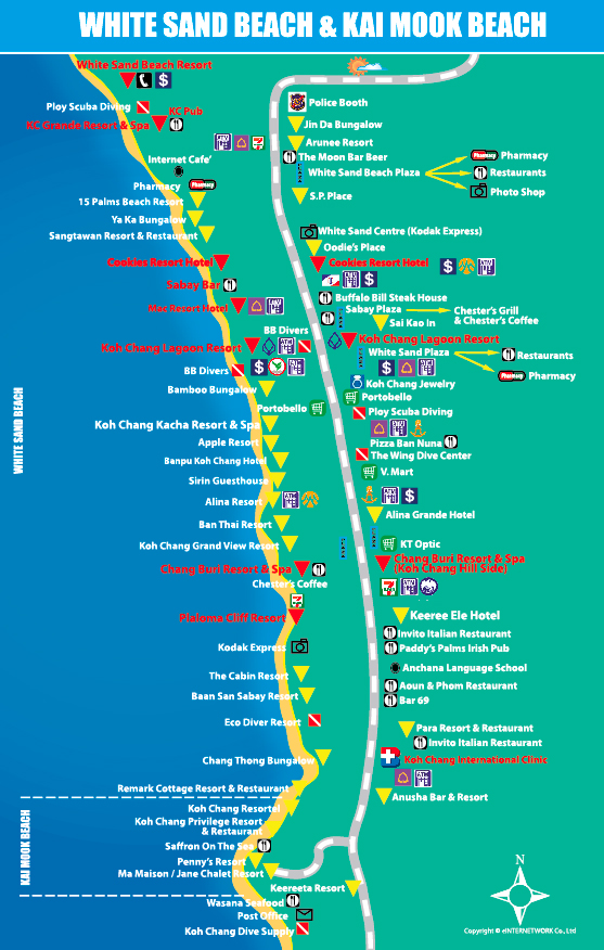 White Sand Beach Map Koh Chang Hotels